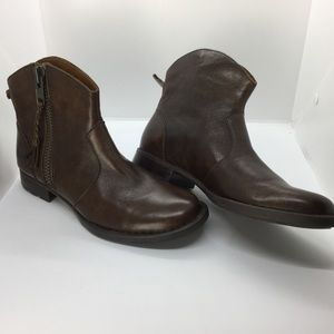 Born Gills Burnished Brown Leather Ankle Boots 6M